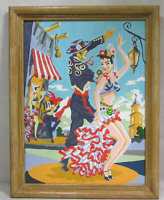 Vintage PBN Paint by Number Spanish Flamenco Dancers VERY Colorful ! 1950s