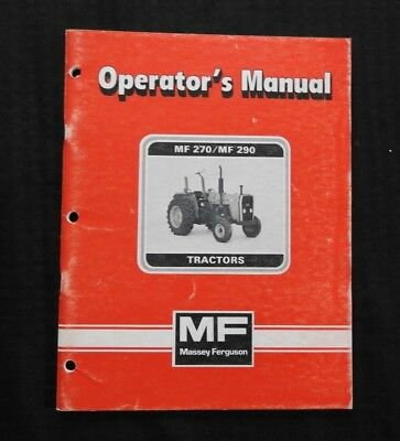 1984-1985 Massey-Ferguson Mf270 Mf290 270 290 Tractor Operators Manual Very Good