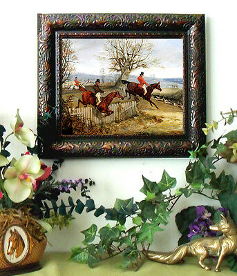 Alken TAKING THE FENCE Horse Fox Hunt Print Antique Style Framed 11x13 fh