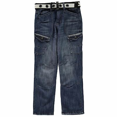 Airwalk Belted Cargo Jeans Youngster Boys Straight Pants Trousers Bottoms