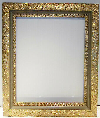 19th C. UNIQUE ANTIQUE ORNATE PICTURE FRAME VINES LEAVES LOG VICTORIAN FOLK ART