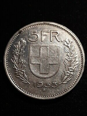 1953B Switzerland Silver 5 Francs Coin