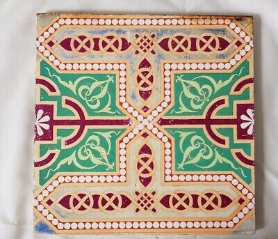 MINTON pugin style CELTIC-ESQUE DESIGN 8 INCH TILE. 19TH CENTURY