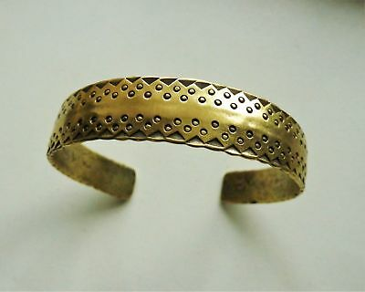 Antique Hammered Brass Viking Bracelet.