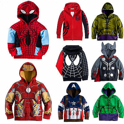 Kids Boys Hero Spider-Man T-Shirt Tee Tops Hooded Hoodie Sweatshirt Jacket Coat