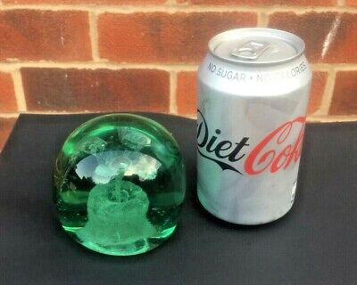 Victorian end of day green Glass Dump with flower inclusion & Pontil. 950 grms.