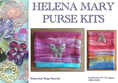Helena Mary Purse Making Kit Complete Kit - Watercolour Wings Zippered Purse