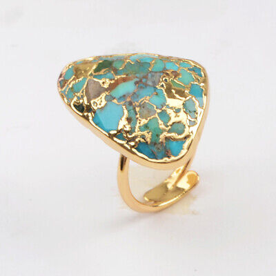 Adjustable Gold Plated Copper Triangle Real Blue Turquoise Open Cuff Ring HG1837