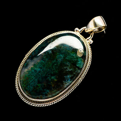 """Green Moss Agate 925 Sterling Silver Pendant 1 3/4"""" Ana Co Jewelry P692927F"""