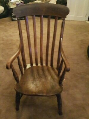 Windsor chair high-backed antique farmhouse grandfather carver solid