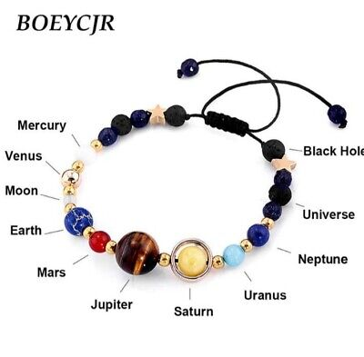 BOEYCJR Universe Planets Beads Bangles & Bracelets Fashion Jewelry Natural Solar