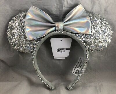 Disney Parks Minnie Mouse Ears Silver Bow Headband - Magic Mirror Metallic - NEW