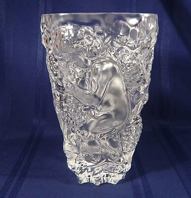 Large Frantisek Halama Crystal ART DECO VASE Children w/ BOX Bohemian