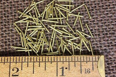 "3/8"" SOLID BRASS BRADS 100 NAILS 20 gauge Escutcheon pins tiny head USA made"