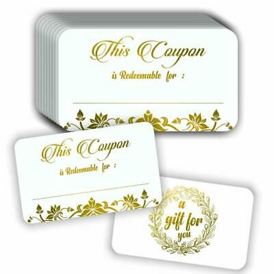 """Coupon Cards (Pack of 50) Premium Gold Foil Stamping 3.5""""x2"""" Blank Gift Certific"""