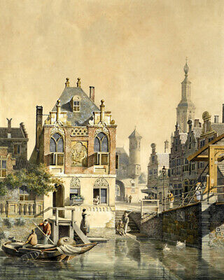 Classical oil painting A Dutch town scene Giclee Art Printed on canvas L2641