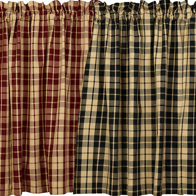 Primitive Farmhouse Star Lined Country Curtain Tiers, Black, Tan, Burgundy