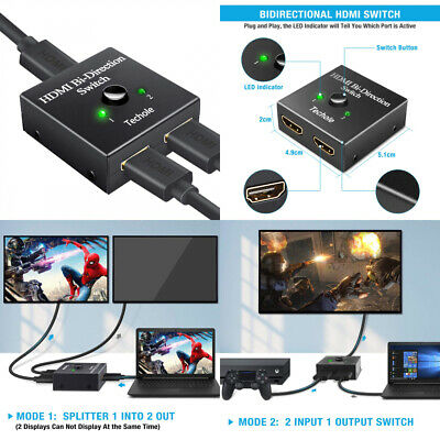 HDMI SWITCH - Techole Bidirectional HDMI Splitter 1 In 2 Out /2 Input 1  Output
