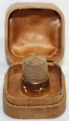 Antique Simons 14K Solid Gold & Seed Pearl Thimble in Original Box - 6.1 Grams