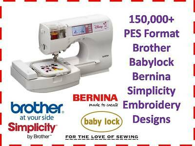 Brother PES 150,000+ Machine Embroidery Designs DVD Babylock Bernina Simplicity