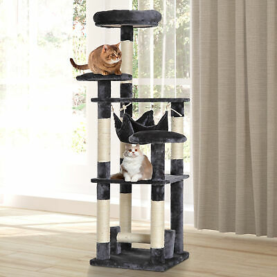 "52"" Multi-Level Cat Tree Sisal Scratching Post Hammock Tower Grey"