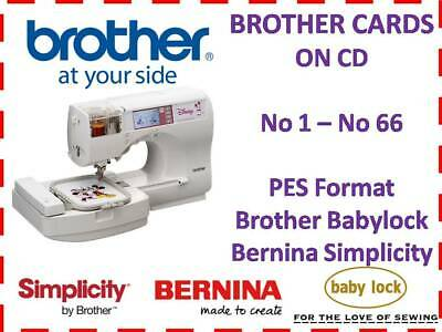 Brother Bernina Cards 1- 66 Pes Embroidery Designs  For Brother Machine On Cd