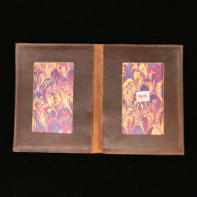 """Il Leone Dipinto 8"""" x 6"""" Italian Leather Notebook Cover Photo Frame Feather Gold"""