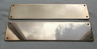 """2 x Quality Vintage 2mm Thick SOLID BRASS Door Finger Plates 12"""" × 3"""" ~ Reclamed"""