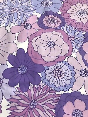 Vintage 1970s Flower single Sheet Fabric,ideal for dressmaking 100 Cm  By 97 Cm