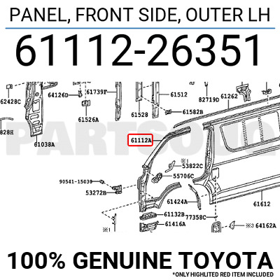 6111226351 Genuine Toyota PANEL, FRONT SIDE, OUTER LH 61112-26351