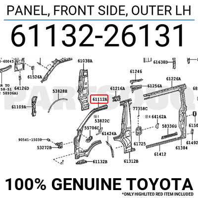 6113226131 Genuine Toyota PANEL, FRONT SIDE, OUTER LH 61132-26131