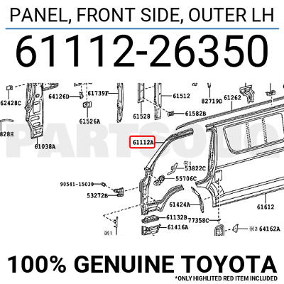 6111226350 Genuine Toyota PANEL, FRONT SIDE, OUTER LH 61112-26350