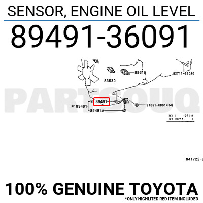 8949136091 Genuine Toyota SENSOR, ENGINE OIL LEVEL 89491-36091