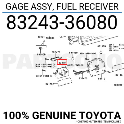 8324336080 Genuine Toyota GAGE ASSY, FUEL RECEIVER 83243-36080