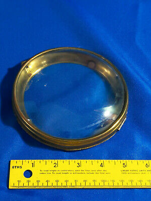 Antique Brass Convex Glass Replacement Part Clock Door Bezel Face Bubble VTG