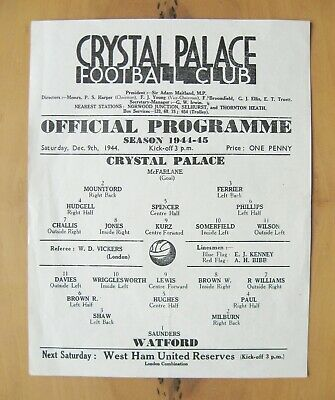 CRYSTAL PALACE v WATFORD 1944/1945 *Excellent Condition Football Programme*
