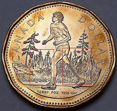 2005 Canada Terry Fox Loonie Dollar **TYPE 4 Missing Grass & Trees** Mint State