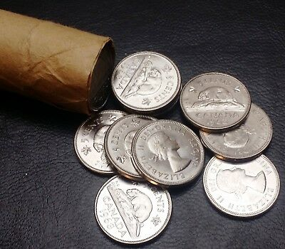 Roll of 40x 1963 Canada 5 Cent Nickels - Shipped Flat to Reduce Cost - CHOICE BU