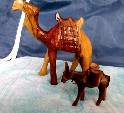 Vintage Carved Wooden Camel Hand  Collectible Animal Figurine+Gift Wooden Donkey