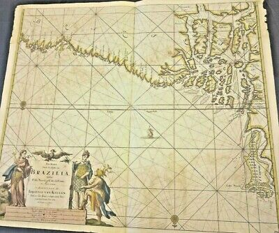 Genuine Antique Map Of Brazil From 1684. Colorized. Frameable, Rare, Fabulous