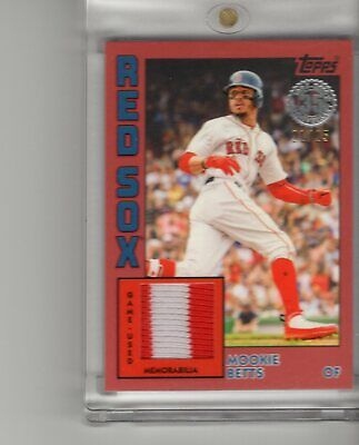 b09e1083 2019 Topps Mookie Betts 2 Color Game Used Patch Card 21/25 Boston Red Sox