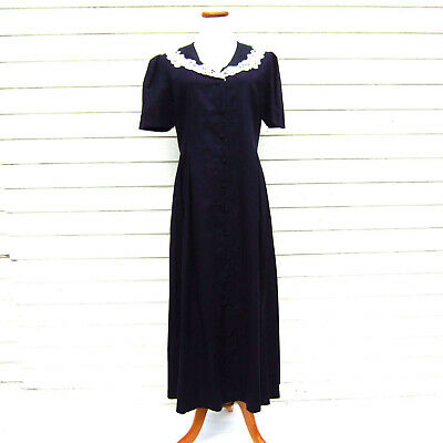 Vintage LAURA ASHLEY Navy Blue Dress Linen Handmade Lace Collar US 12 UK 16