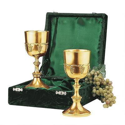 Set of 2: Solid Brass Old World Goblet Grape Harvest Chalices w/ Gift Box