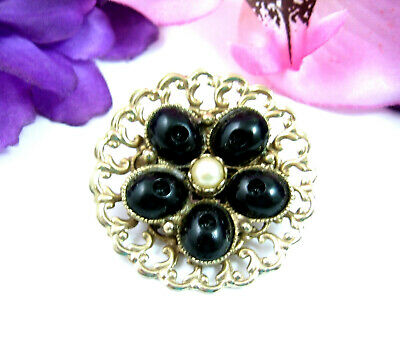 BLACK Oval BEAD BROOCH Vintage Faux Pearl Pin Floral Flower Round Goldtone