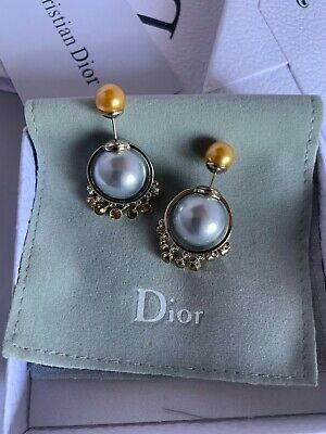 f6234e975d2c83 CHRISTIAN DIOR Silver Tone Pearl/Crystals Tribal Earrings Studs Mise En Dior  New