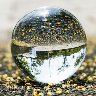 Handmade Clear Crystal Ball 80mm Photo Photography Glass Paperweight with Pouch
