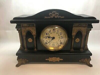 ANTIQUE Black and Brass MANTLE CLOCK Pillars Untested