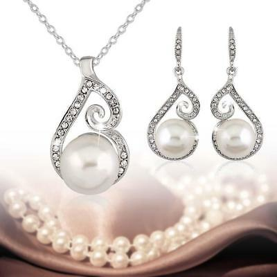 Bridal Bridesmaid Wedding Party Jewelry Set Crystal Pearl Necklace Earrings EV