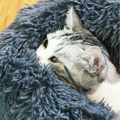 Pet Cats Dog Round Nest Warm Soft Plush Comfortable Calming Mat Bed for Sleeping