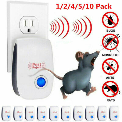 1/2/4/5/10 Pack Ultrasonic Pest Control Repeller Reject Rat Mouse Mice spider NO
